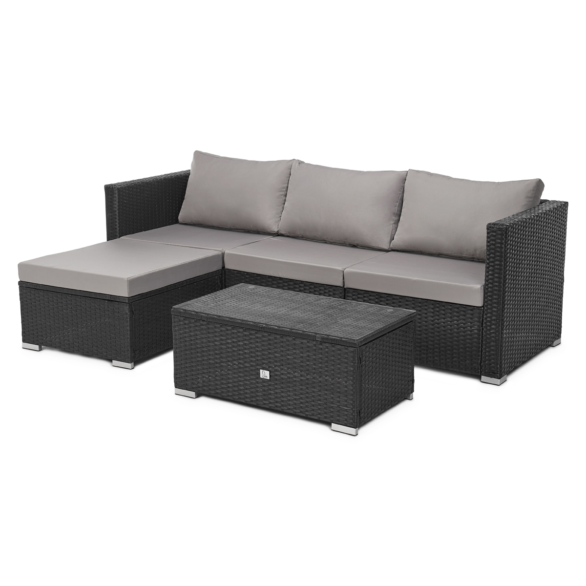 91928 SVITA QUEENS Poly Rattan Lounge Schwarz