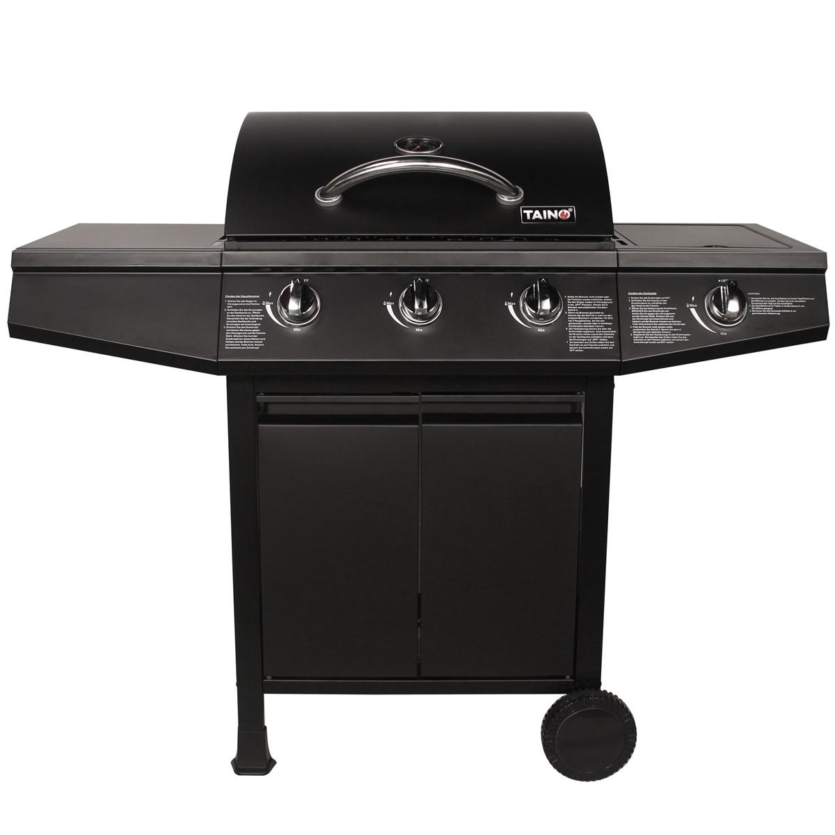 taino gasgrill bbq grillwagen 3 edelstahl brenner gas grill seitenkocher t v ebay. Black Bedroom Furniture Sets. Home Design Ideas