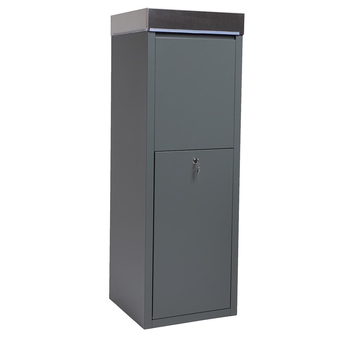 90580 SVITA Paketbox Paketbriefkasten mit Edelstahl-Deckel Grau KD