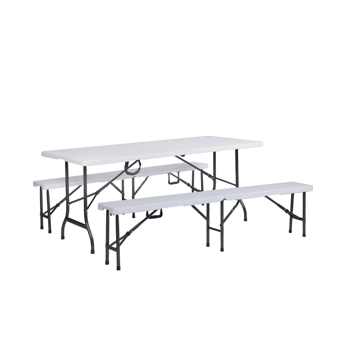 SVITA Set Buffettisch mit Klappbänke faltbar 180 cm weiß (91558)