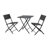 90594 SVITA Poly-Rattan Bistro-Set Tisch Stuhl Klappbar Rattan-Set Schwarz