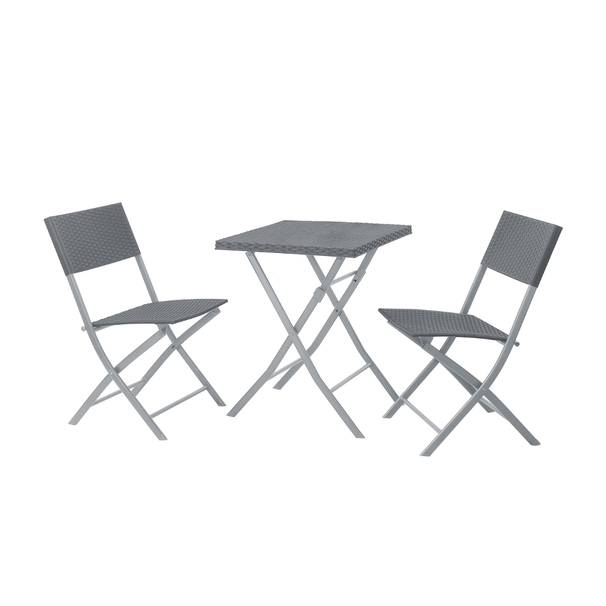 90595 SVITA Poly-Rattan Bistro-Set Tisch Stuhl Klappbar Rattan-Set Grau