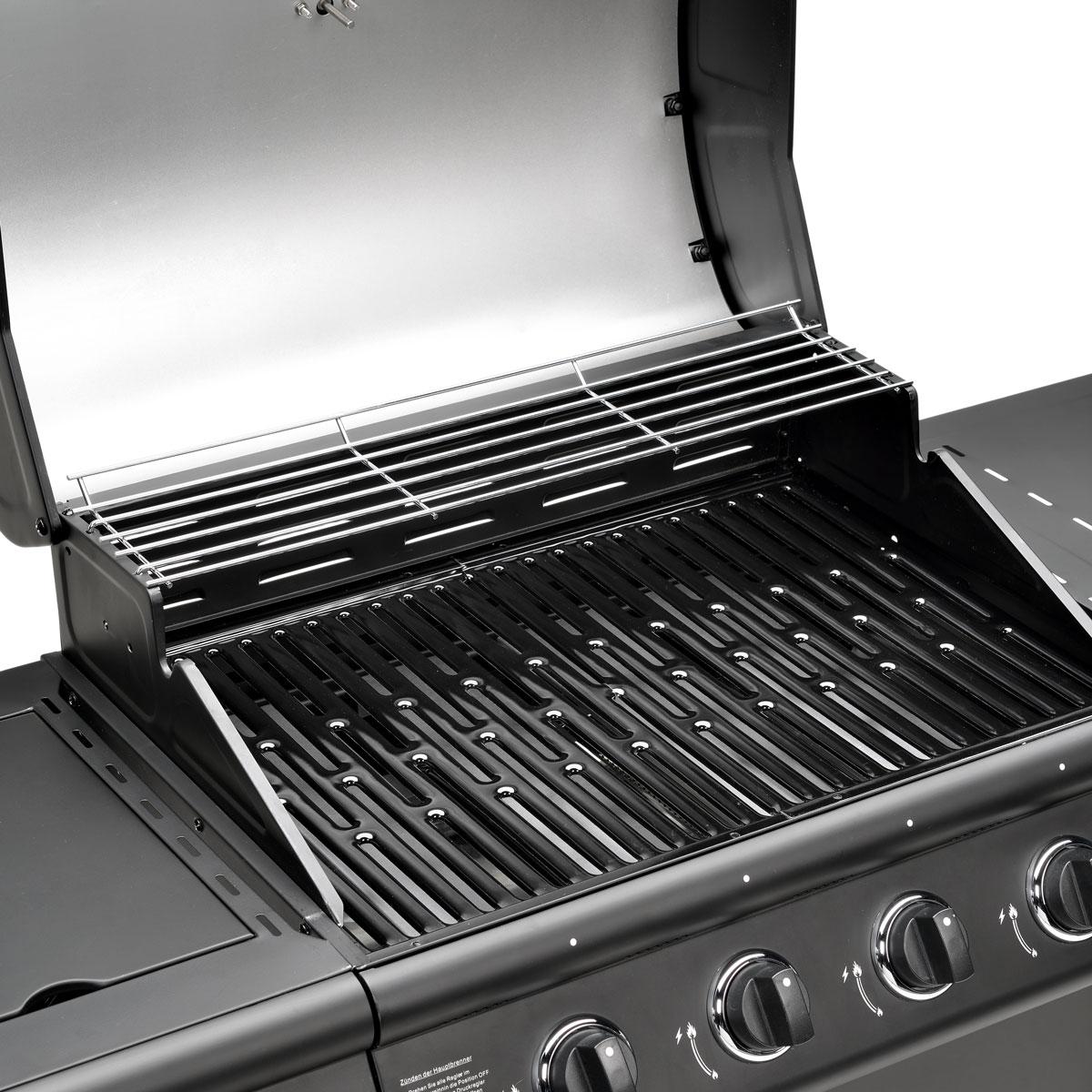 gasgrill bbq grillwagen 4 edelstahl brenner gas grill seitenkocher neu schwarz ebay. Black Bedroom Furniture Sets. Home Design Ideas