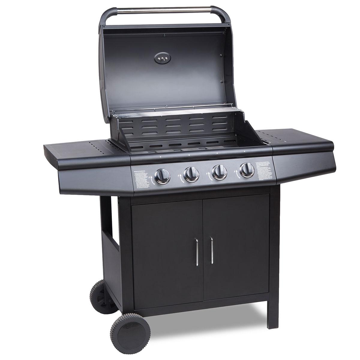 gasgrill bbq grillwagen 4 edelstahl brenner gas barbeque grill neu schwarz ebay. Black Bedroom Furniture Sets. Home Design Ideas