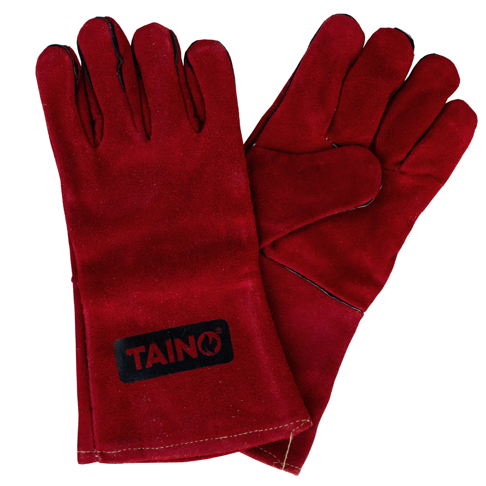 99931 TAINO Grillhandschuhe Leder Hitzebeständig mit Fingern Universalgröße Rot