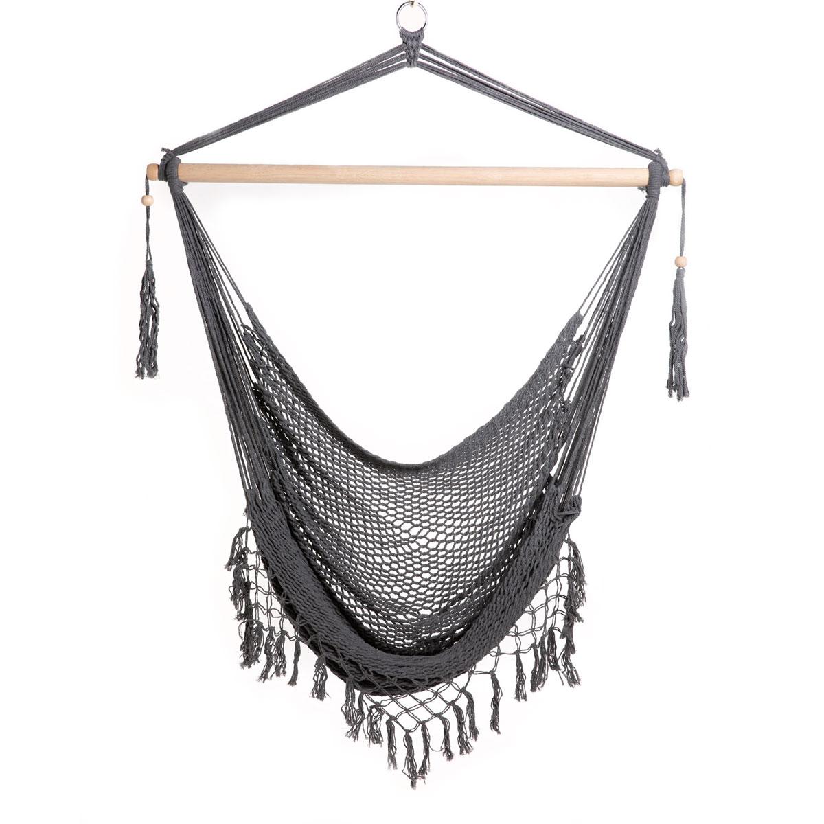 90746 SVITA Hängesessel in Netz-Optik zum Aufhängen mit Stange und Fransen Baumwollseil Naturmaterial Grau