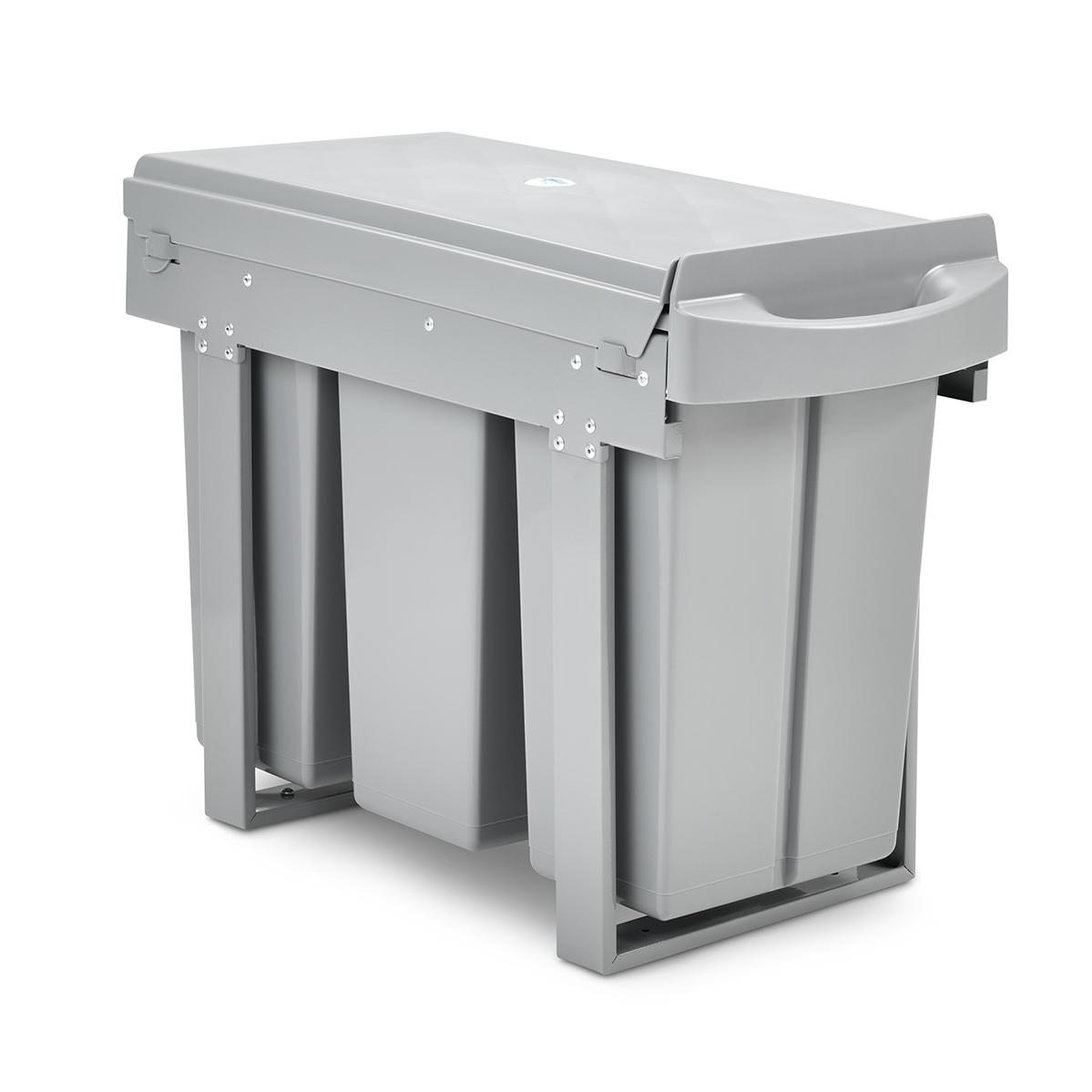 90530 SVITA Einbau-Mülleimer Unterschrank 30L mit 3 Fächern Mülltrennung