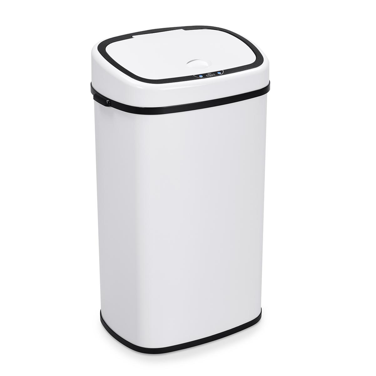 90833 SVITA Sensor-Mülleimer 58L Stahl Mülleimer mit Sensor Abfalleimer Weiß