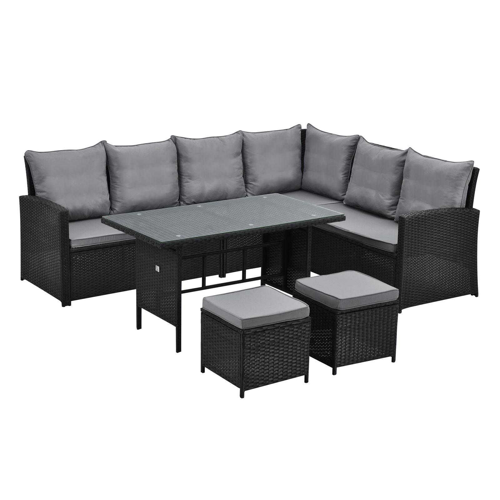 90720 SVITA Monroe Garten-Lounge Set Polyrattan Lounge-Möbel Sitzgruppe Schwarz