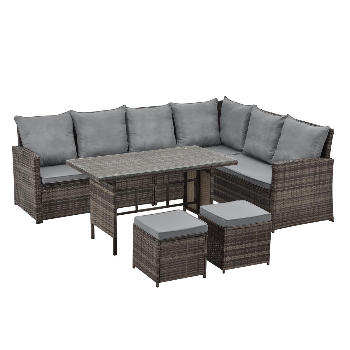 90721 SVITA Monroe Garten-Lounge Set Polyrattan Lounge-Möbel Sitzgruppe Braun