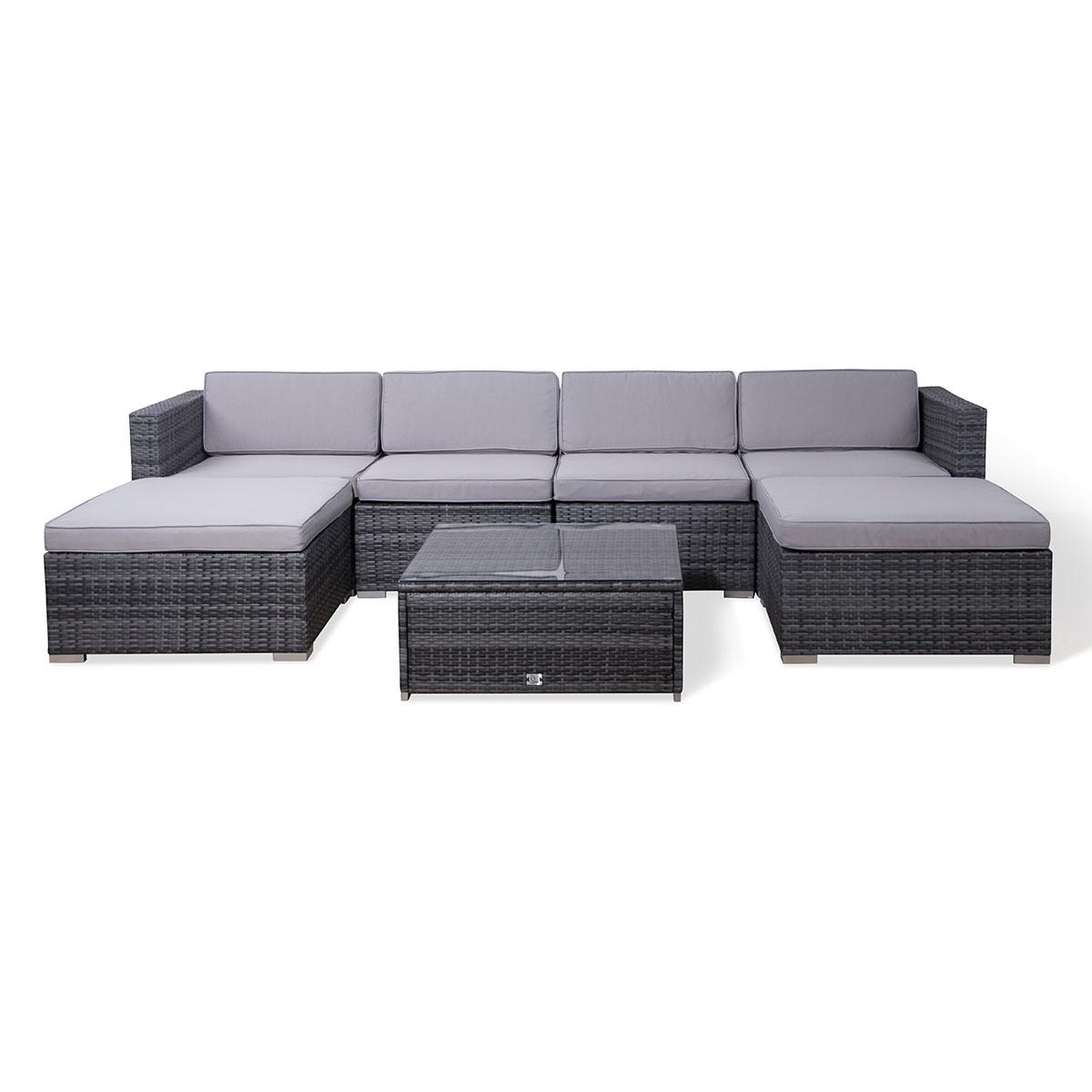 90946 SVITA LUGANO Poly Rattan Lounge XXL grau