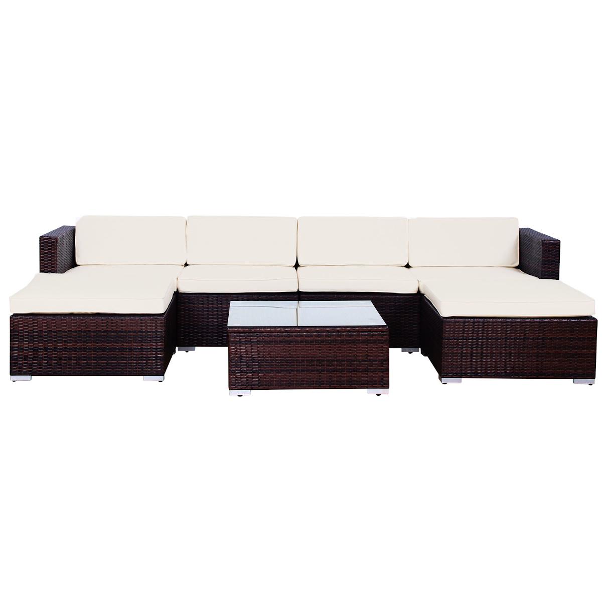 90947 SVITA LUGANO Poly Rattan Lounge XXL braun
