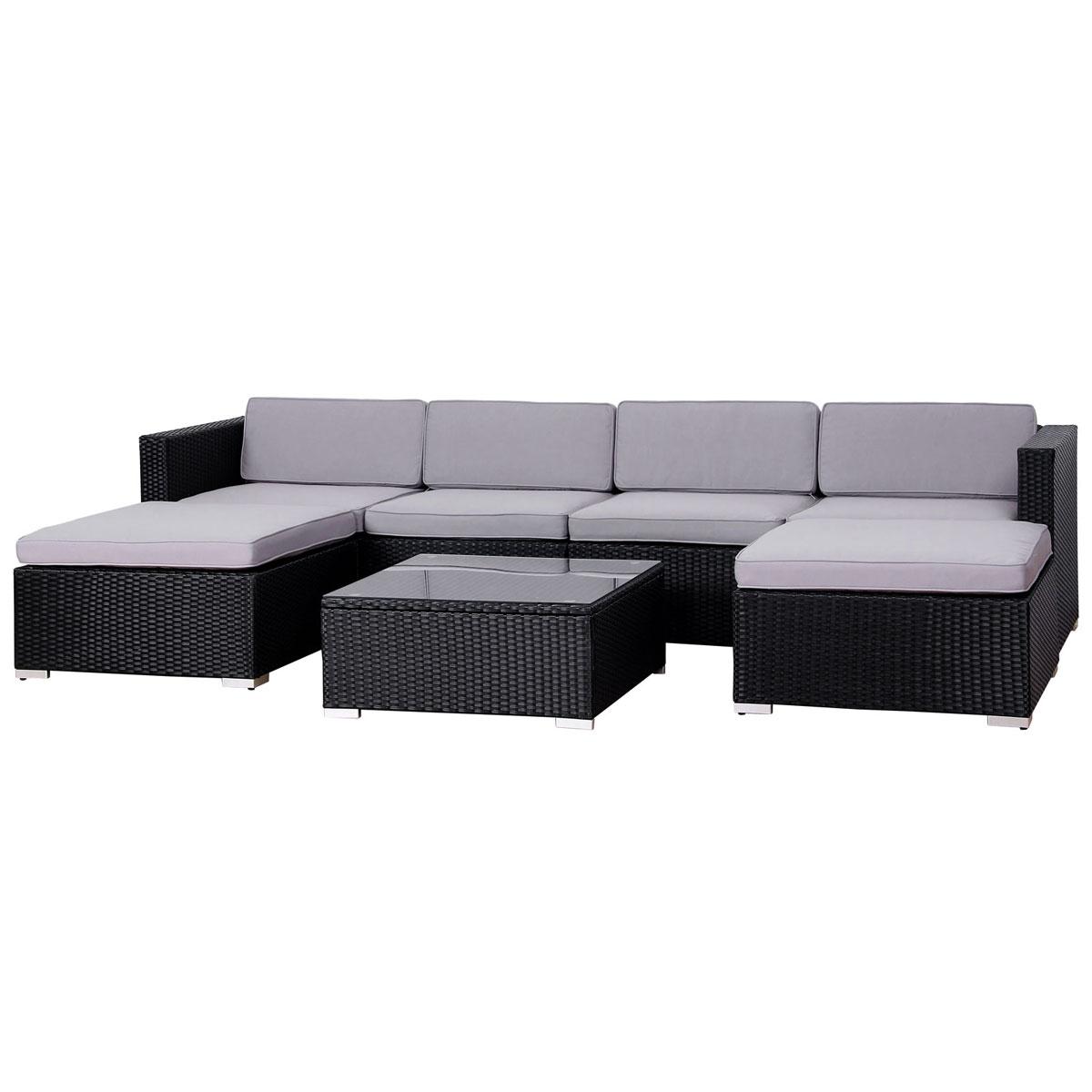 90948 SVITA LUGANO Poly Rattan Lounge XXL schwarz