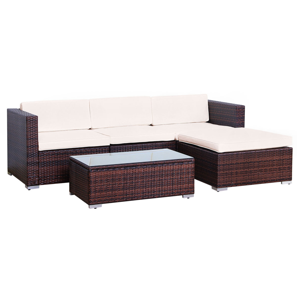 90961 SVITA CALIFORNIA Poly Rattan Lounge XL braun