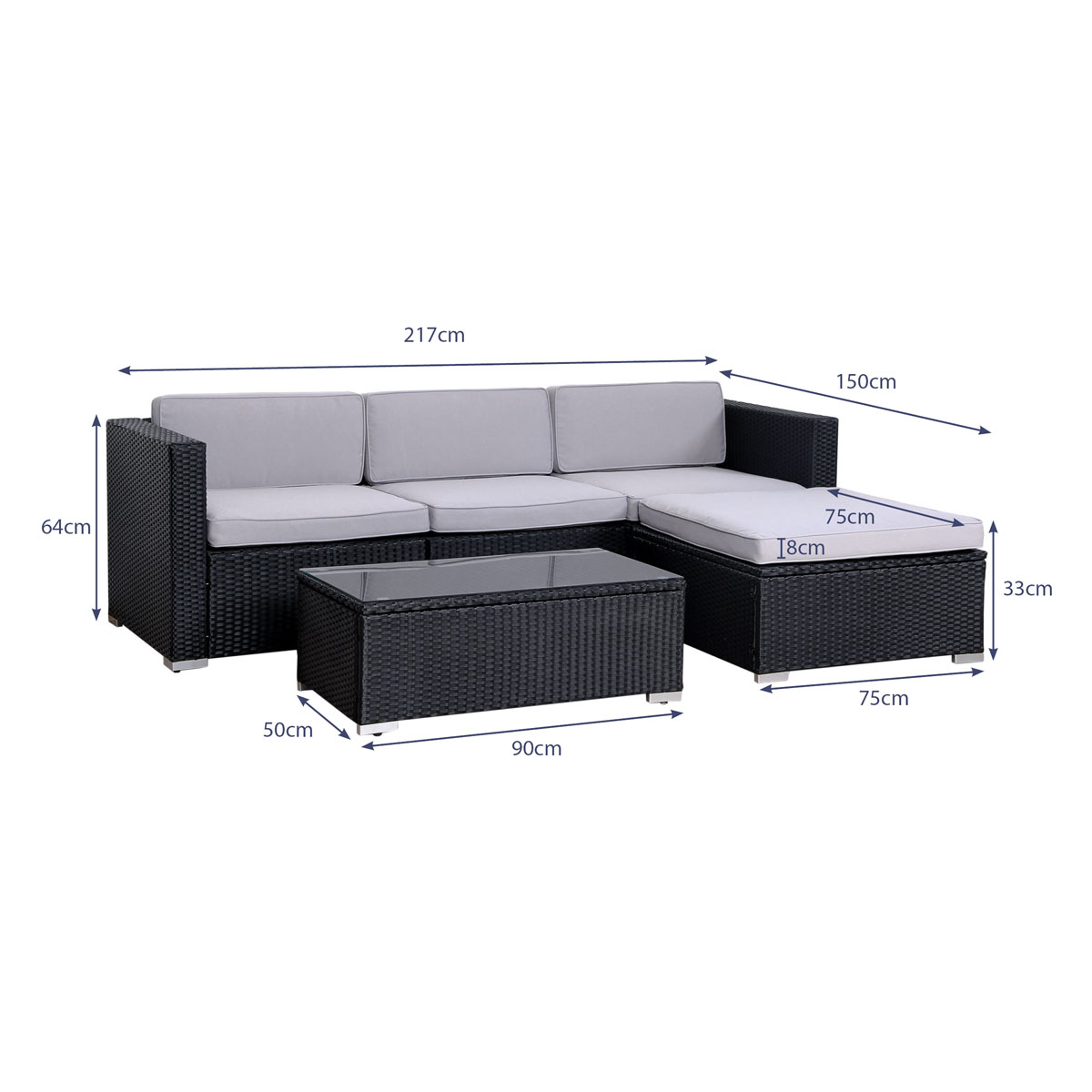 svita polyrattan lounge gartenm bel set sofa couch garnitur rattan truhe box ebay. Black Bedroom Furniture Sets. Home Design Ideas
