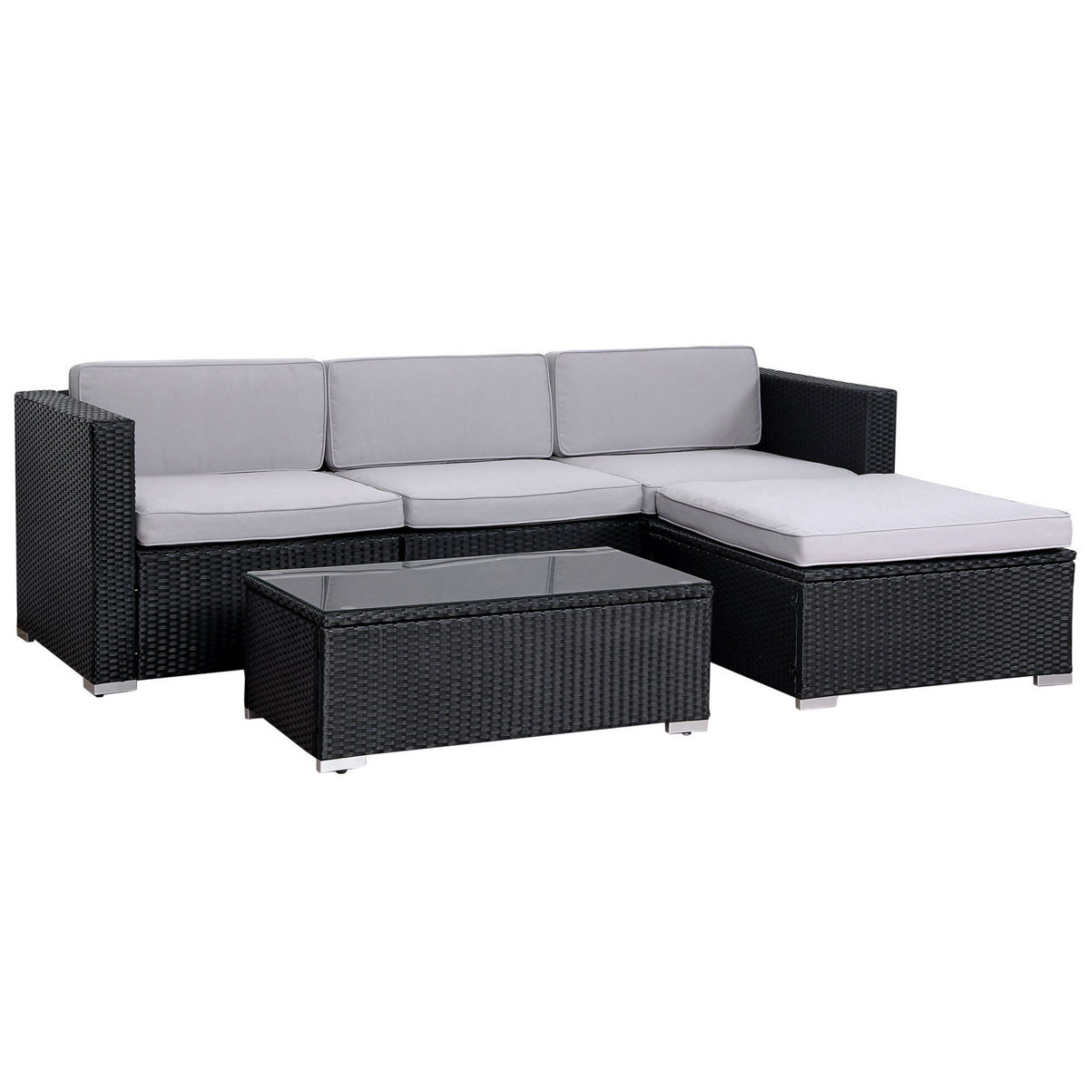 90962  SVITA CALIFORNIA Poly Rattan Lounge XL schwarz