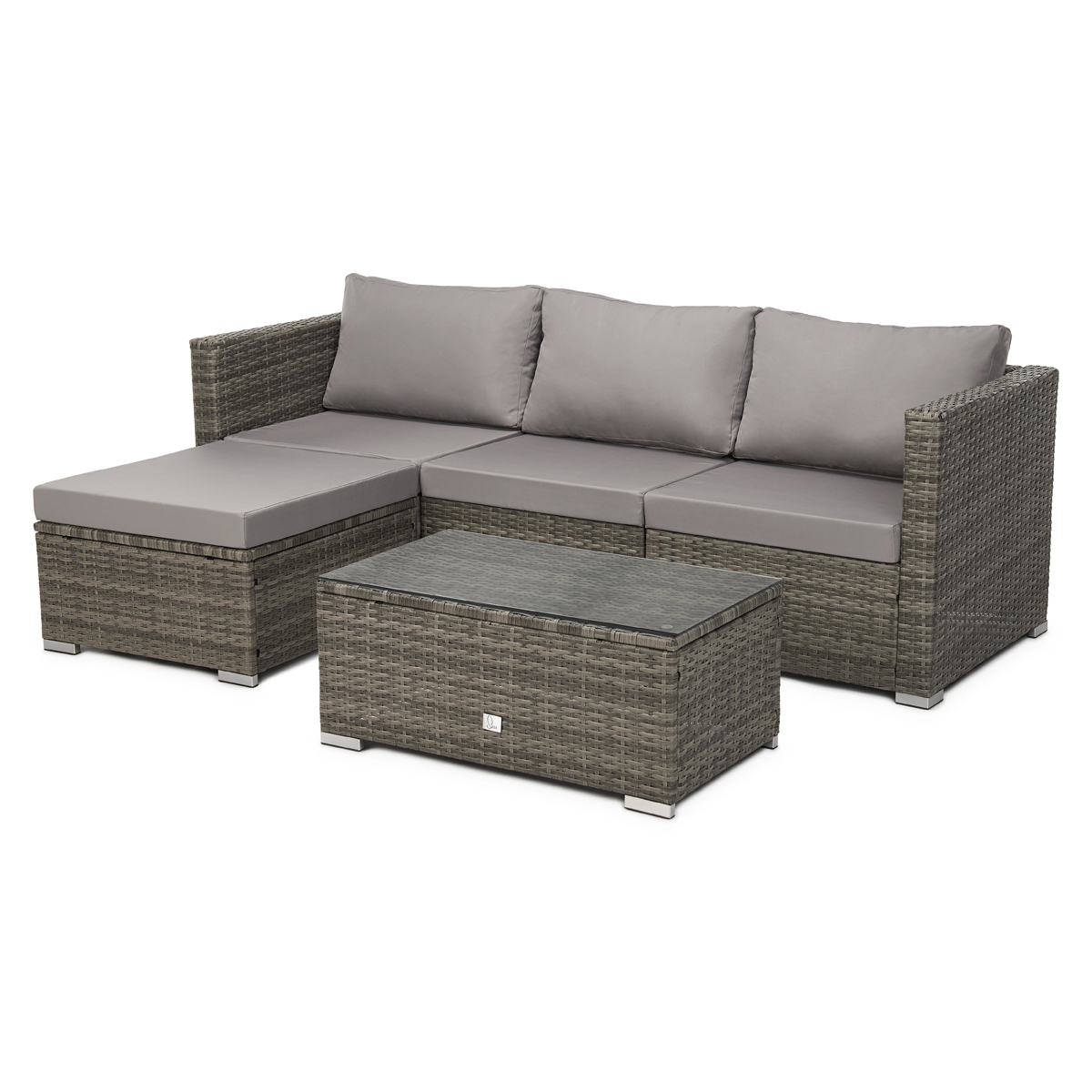 91927 SVITA QUEENS Poly Rattan Lounge Grau
