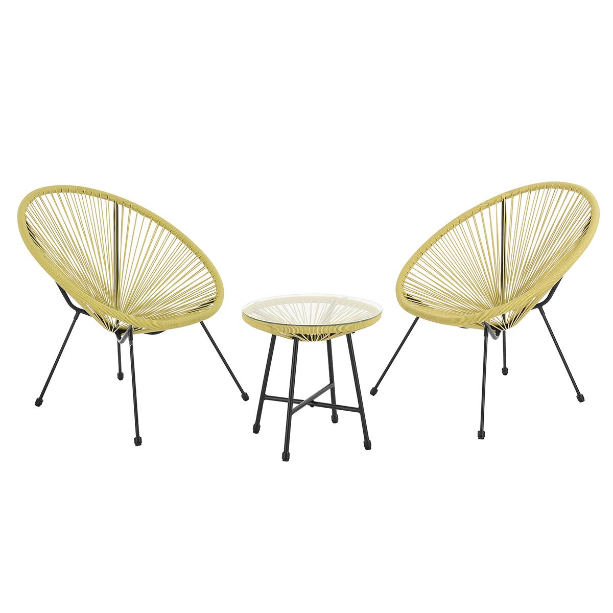 92255 SVITA BALI Balkon-Möbel 3-tlg. Polyrattan Lounge-Set Balkon-Set Gelb