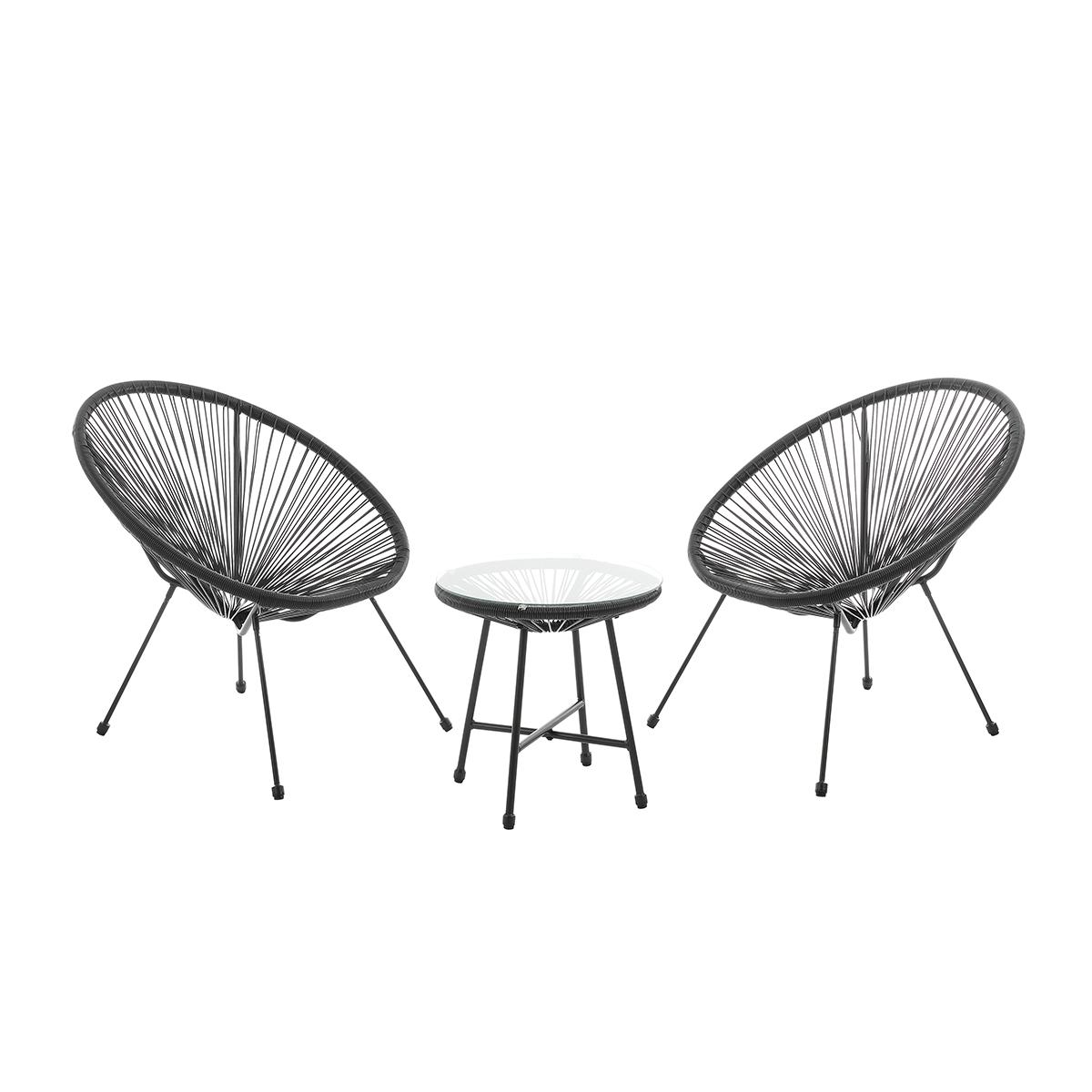 92256 SVITA BALI Balkon-Möbel 3-tlg. Polyrattan Lounge-Set Balkon-Set Schwarz
