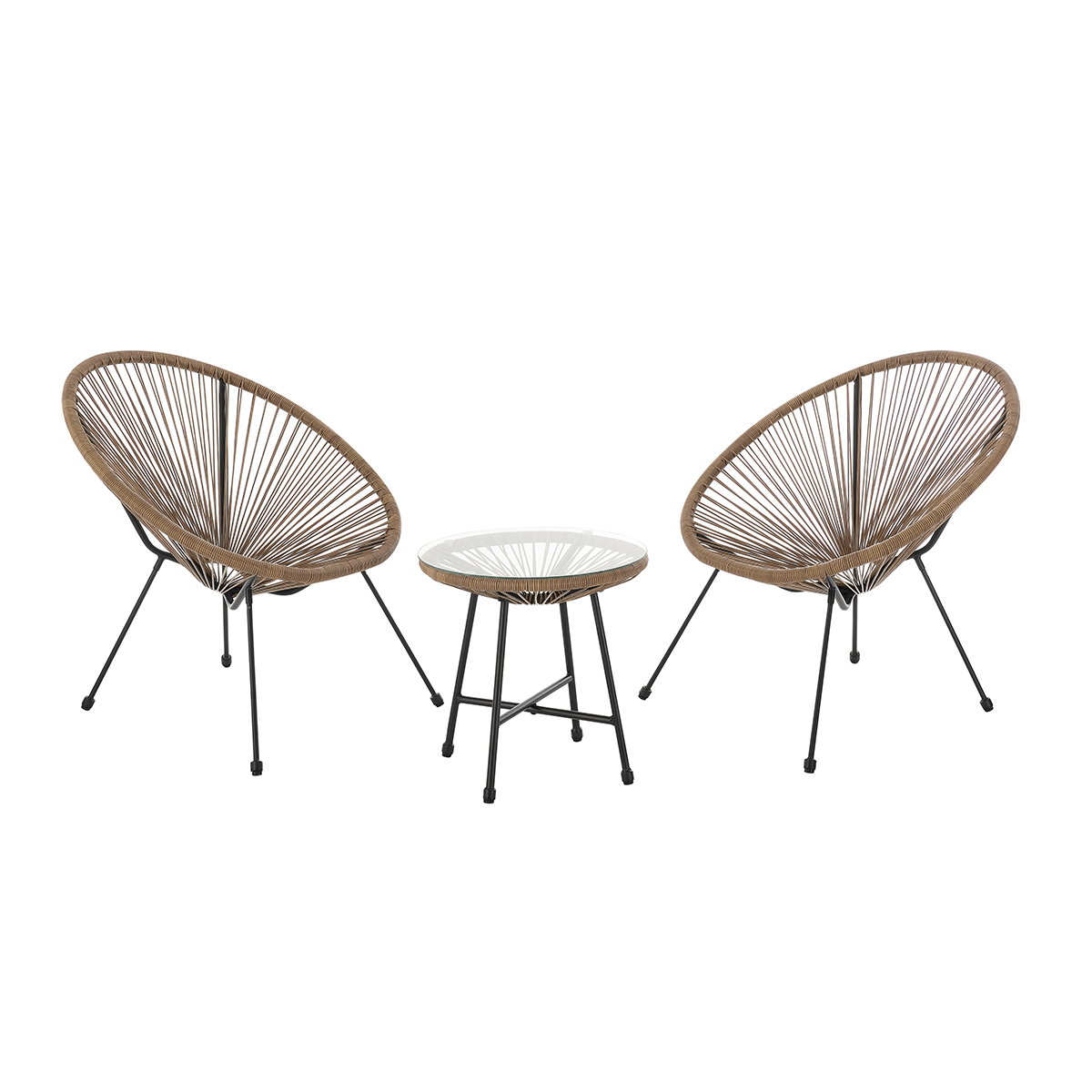 92257 SVITA BALI Balkon-Möbel 3-tlg. Polyrattan Lounge-Set Balkon-Set Braun