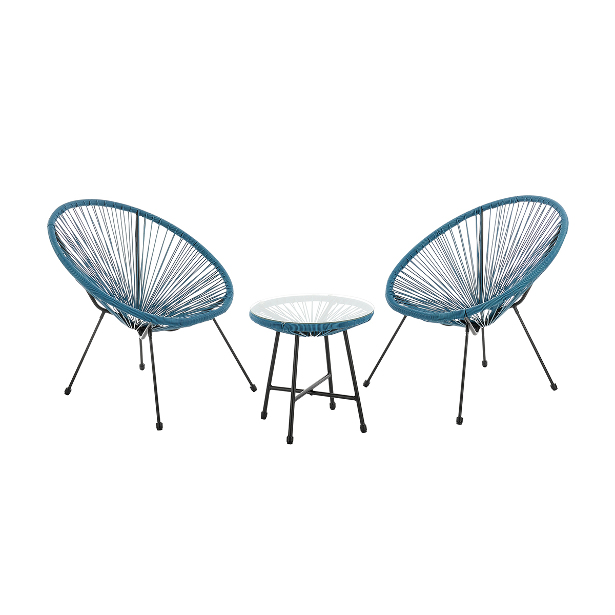 92258 SVITA BALI Balkon-Möbel 3-tlg. Polyrattan Lounge-Set Balkon-Set Blau