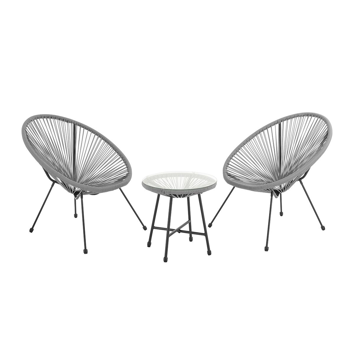 92259 SVITA BALI Balkon-Möbel 3-tlg. Polyrattan Lounge-Set Balkon-Set Grau