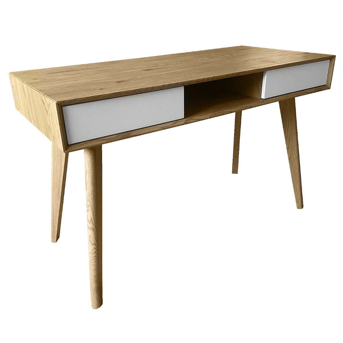 91145 SVITA retro Schreibtisch Eiche-Optik mit weißen Schubladen