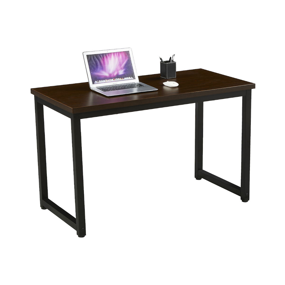 91150 SVITA Uni Schreibtisch Nussbaum-Optik mit schwarzen Metall-Beinen