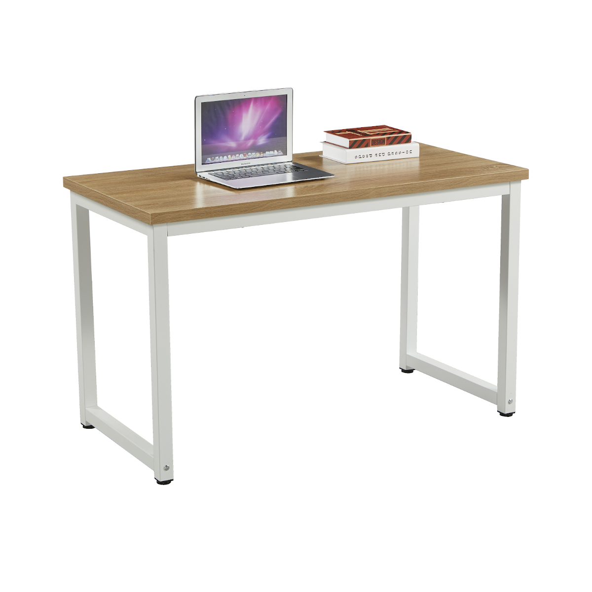 91151 SVITA Uni Schreibtisch Eiche-Optik mit weißen Metall-Beinen