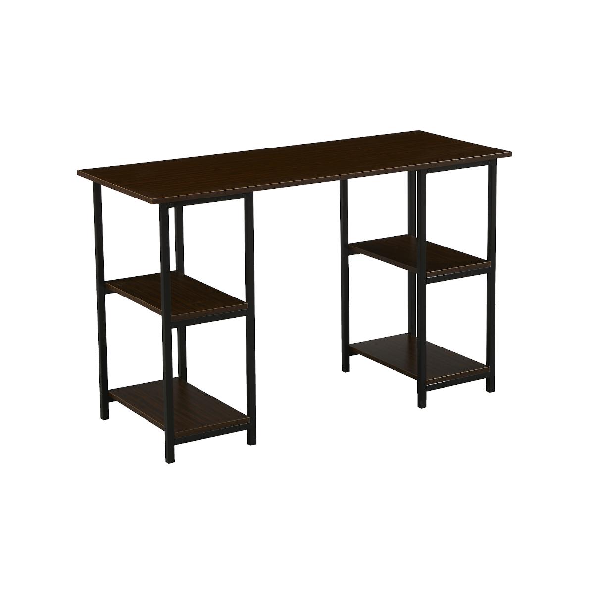 91154 SVITA Studio Schreibtisch Regal Nussbaum-Optik schwarze Metall-Beine