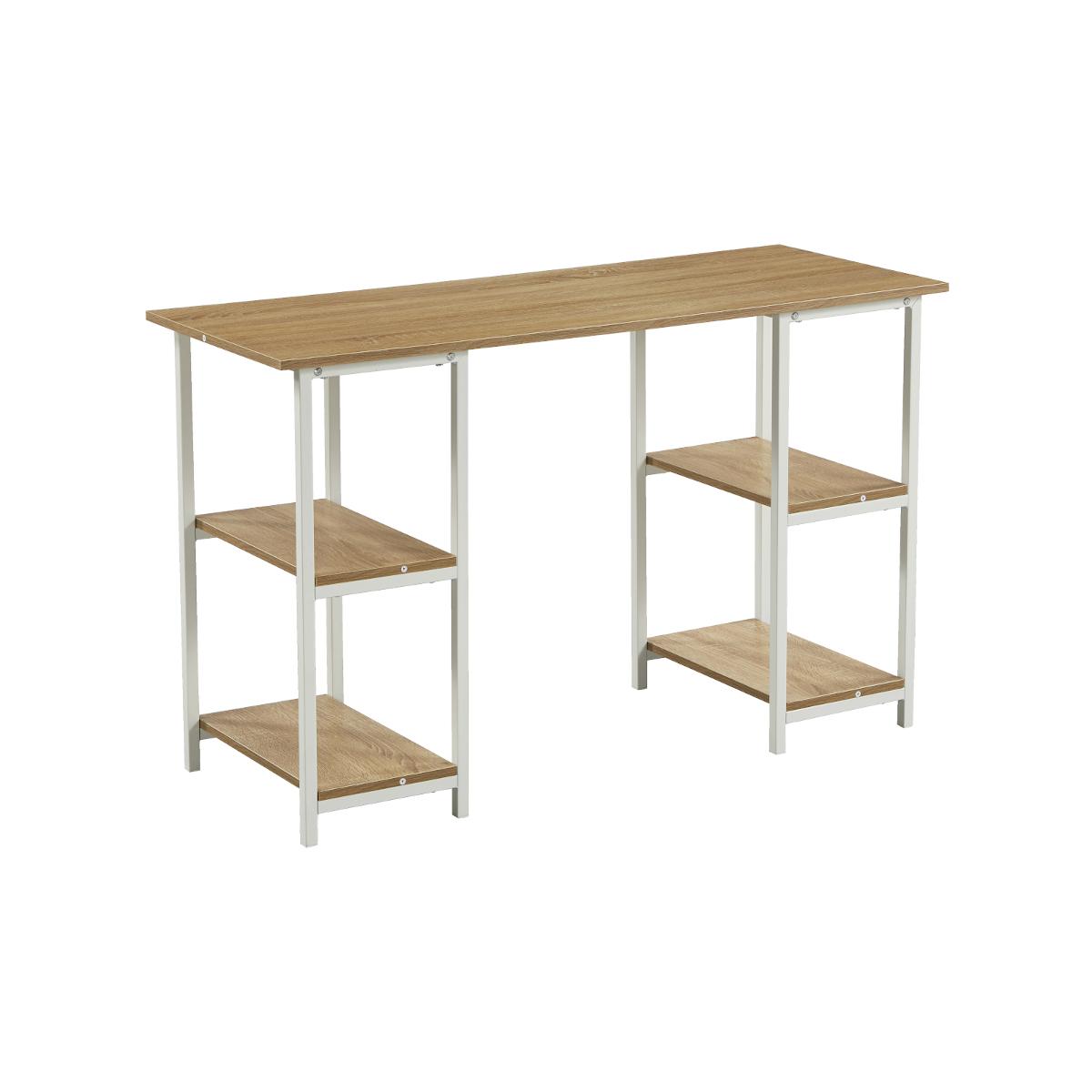 91155 SVITA Studio Schreibtisch Regal Eiche-Optik weiße Metall-Beine