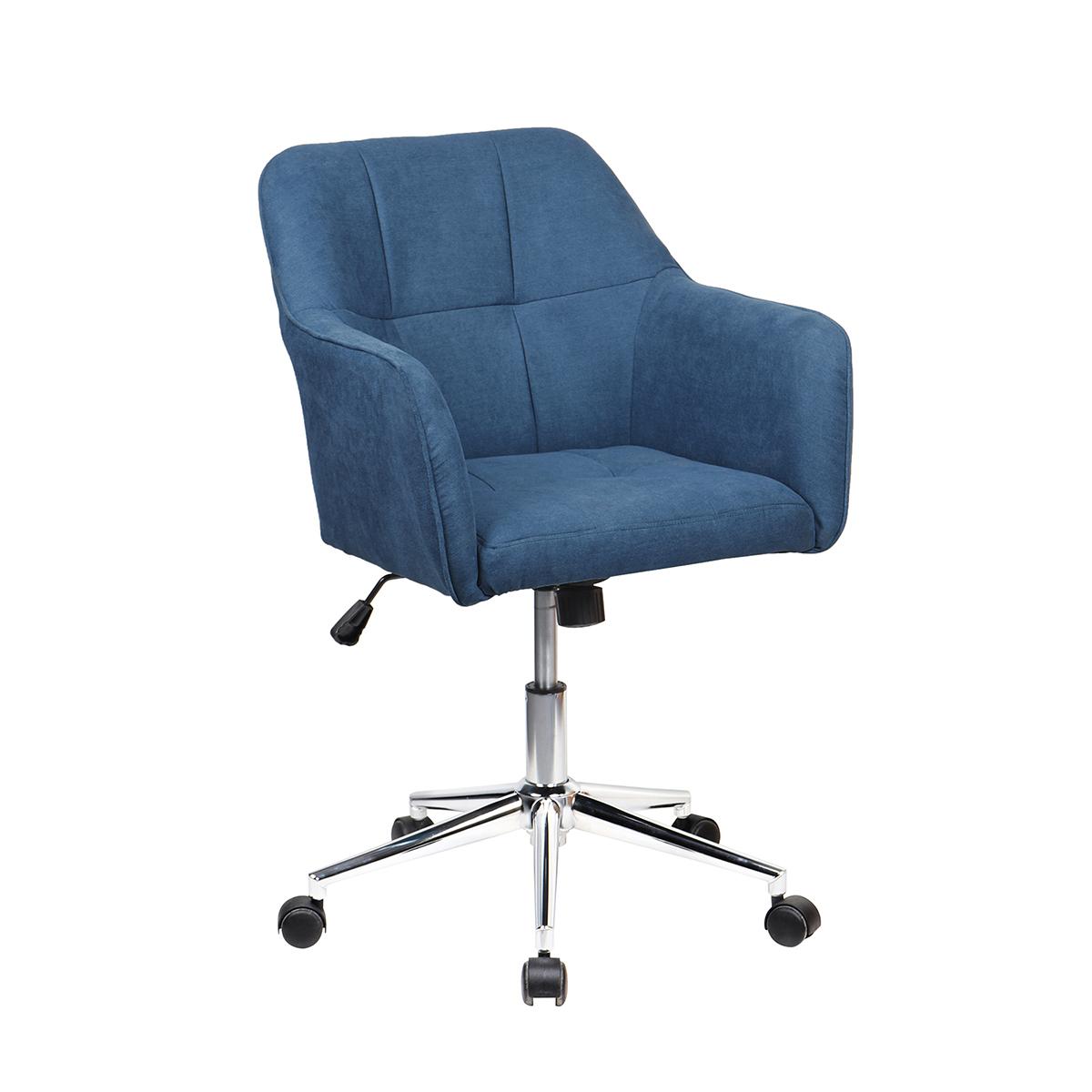 90360 SVITA JAKE Schreibtischstuhl mit Armlehnen Höhenverstellbar Drehstuhl mit Rollen Stoff-Bezug Blau