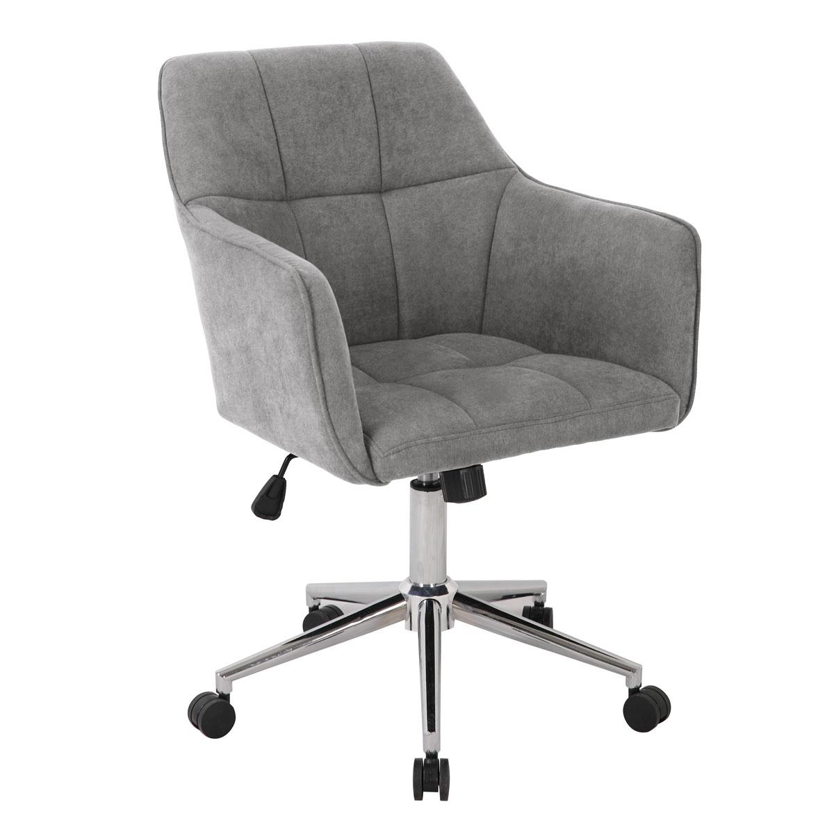 90361 SVITA JAKE Schreibtischstuhl mit Armlehnen Höhenverstellbar Drehstuhl mit Rollen Stoff-Bezug Hellgrau
