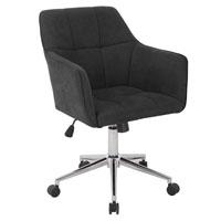 90362 SVITA JAKE Schreibtischstuhl mit Armlehnen Höhenverstellbar Drehstuhl mit Rollen Stoff-Bezug Dunkelgrau