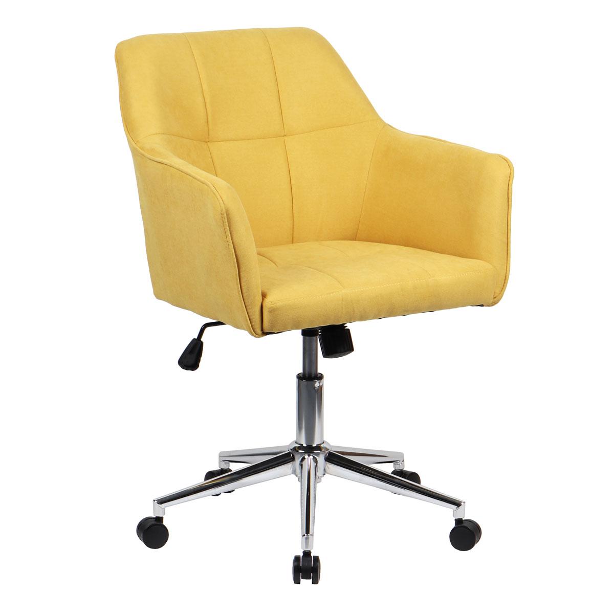 90363 SVITA JAKE Schreibtischstuhl mit Armlehnen Höhenverstellbar Drehstuhl mit Rollen Stoff-Bezug Gelb