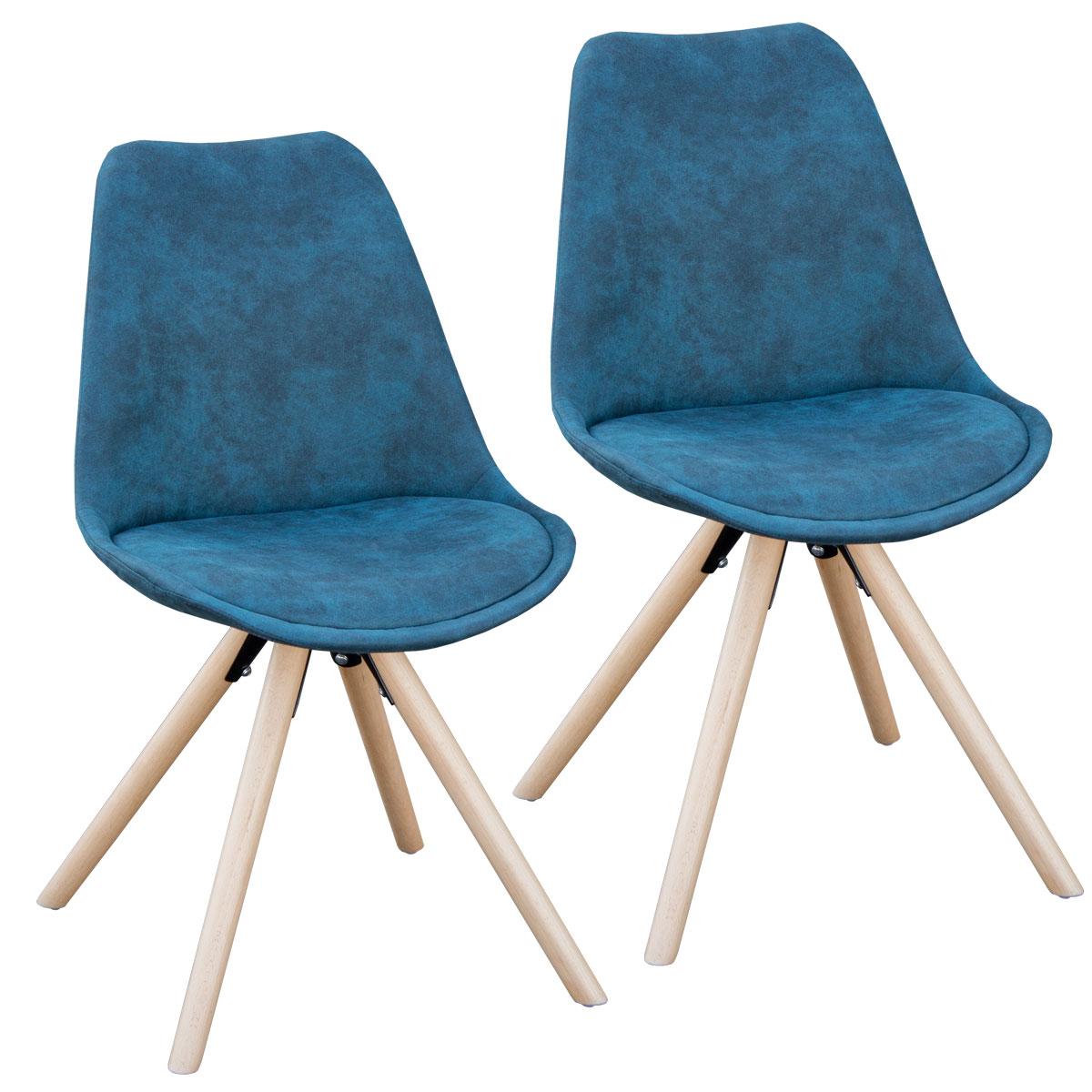 90456 SVITA 2er Set Retro Stühle blau