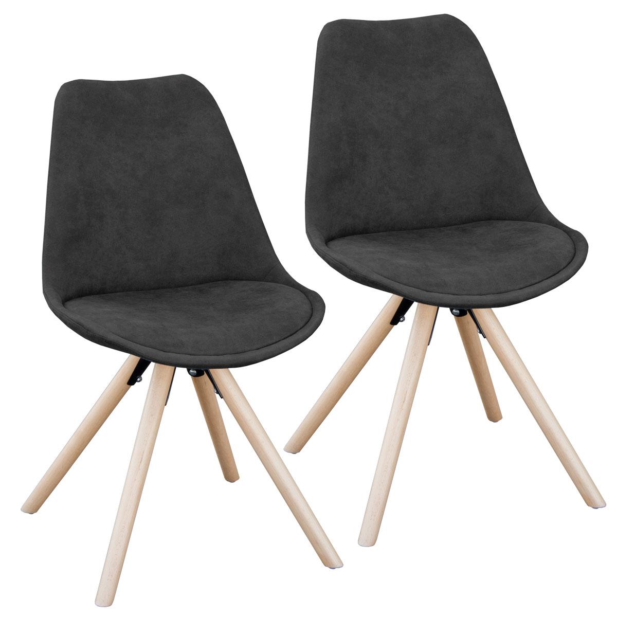 90457 SVITA 2er Set Retro Stühle schwarz
