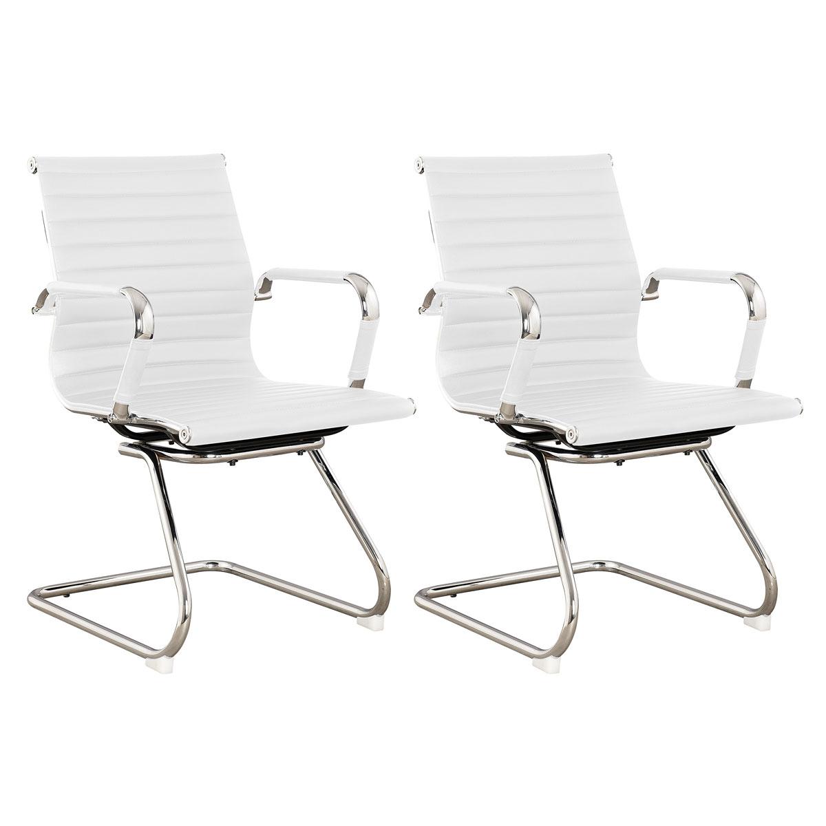 90496 SVITA Elegance 2x Besucherstuhl Kunstleder Schwingstuhl Weiß