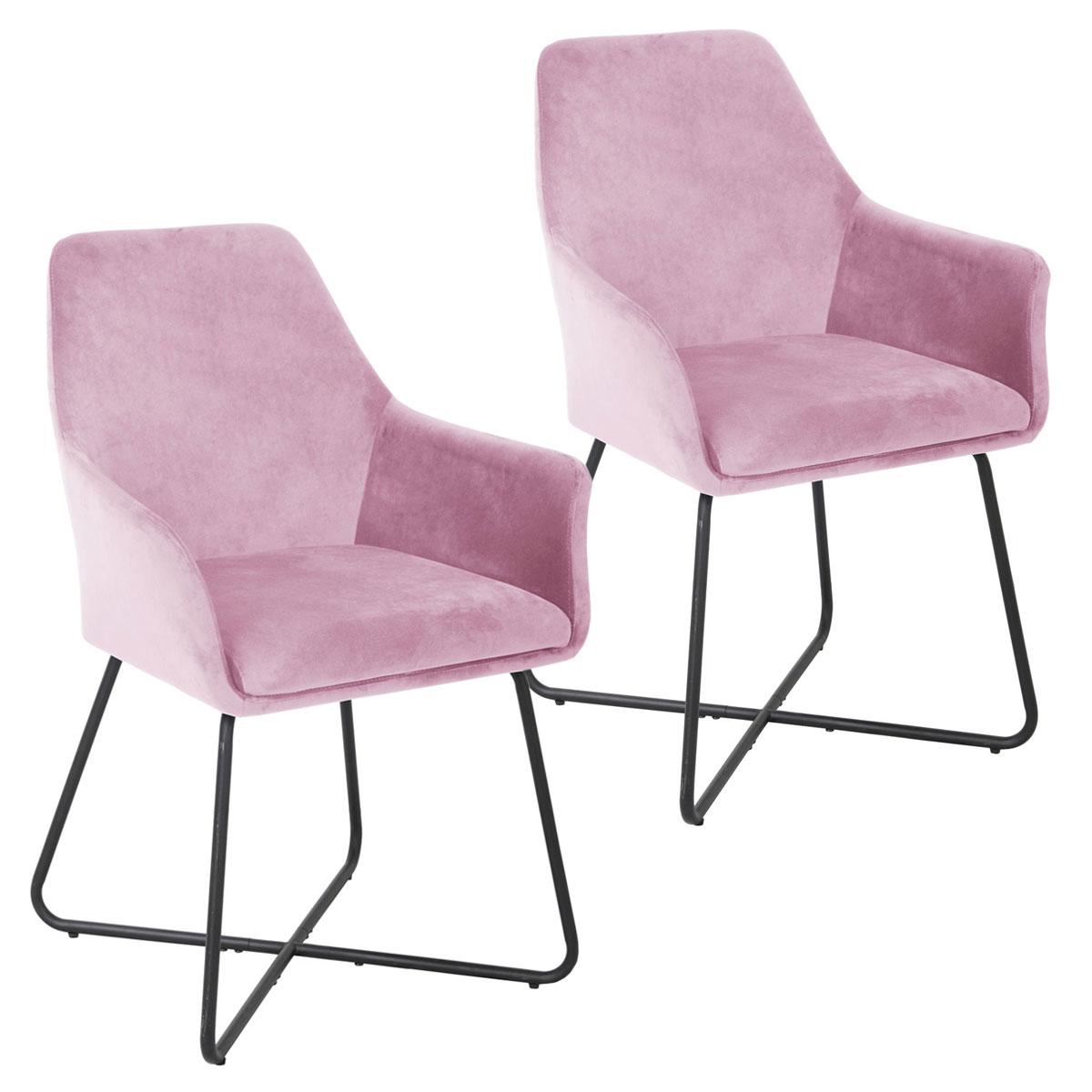 90522 SVITA JOSIE Dining 2er Set Esszimmerstühle Samt pink
