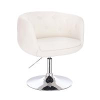91275 SVITA PANAMA Retro Loungestuhl Cocktailsessel Weiß Kunstleder Tellerfuß