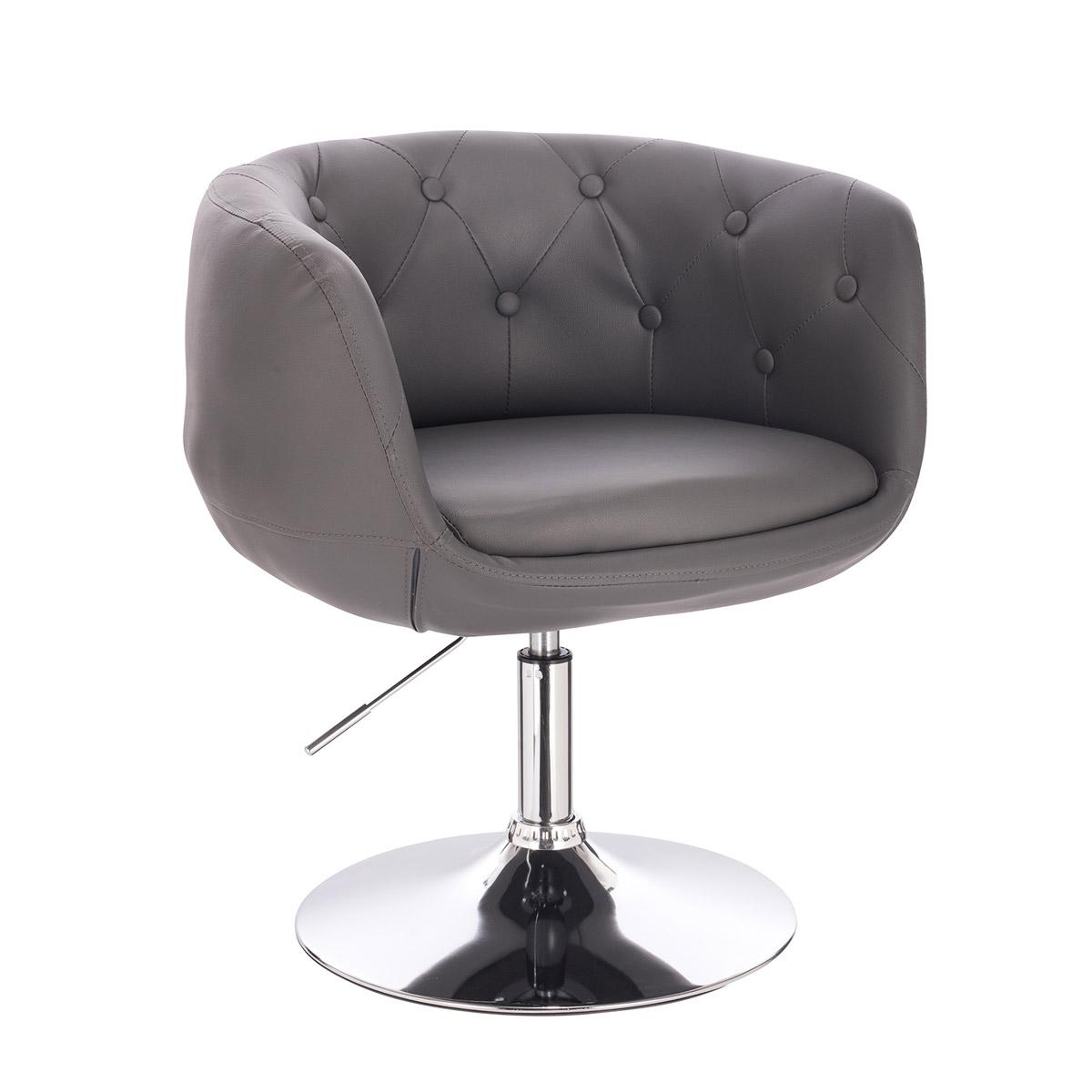 91276 SVITA PANAMA Retro Loungestuhl Cocktailsessel Grau Kunstleder Tellerfuß