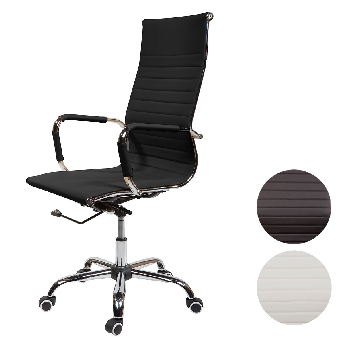 SVITA Elegance Besucherstuhl schwarz Kunstleder Stuhl Chrom Bürostuhl neu