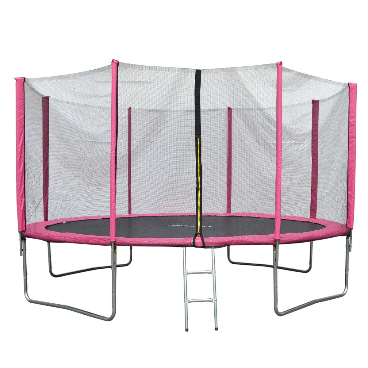 90509 JAWINIO Trampolin 427 cm Gartentrampolin Trampolin Kinder Komplettset Pink