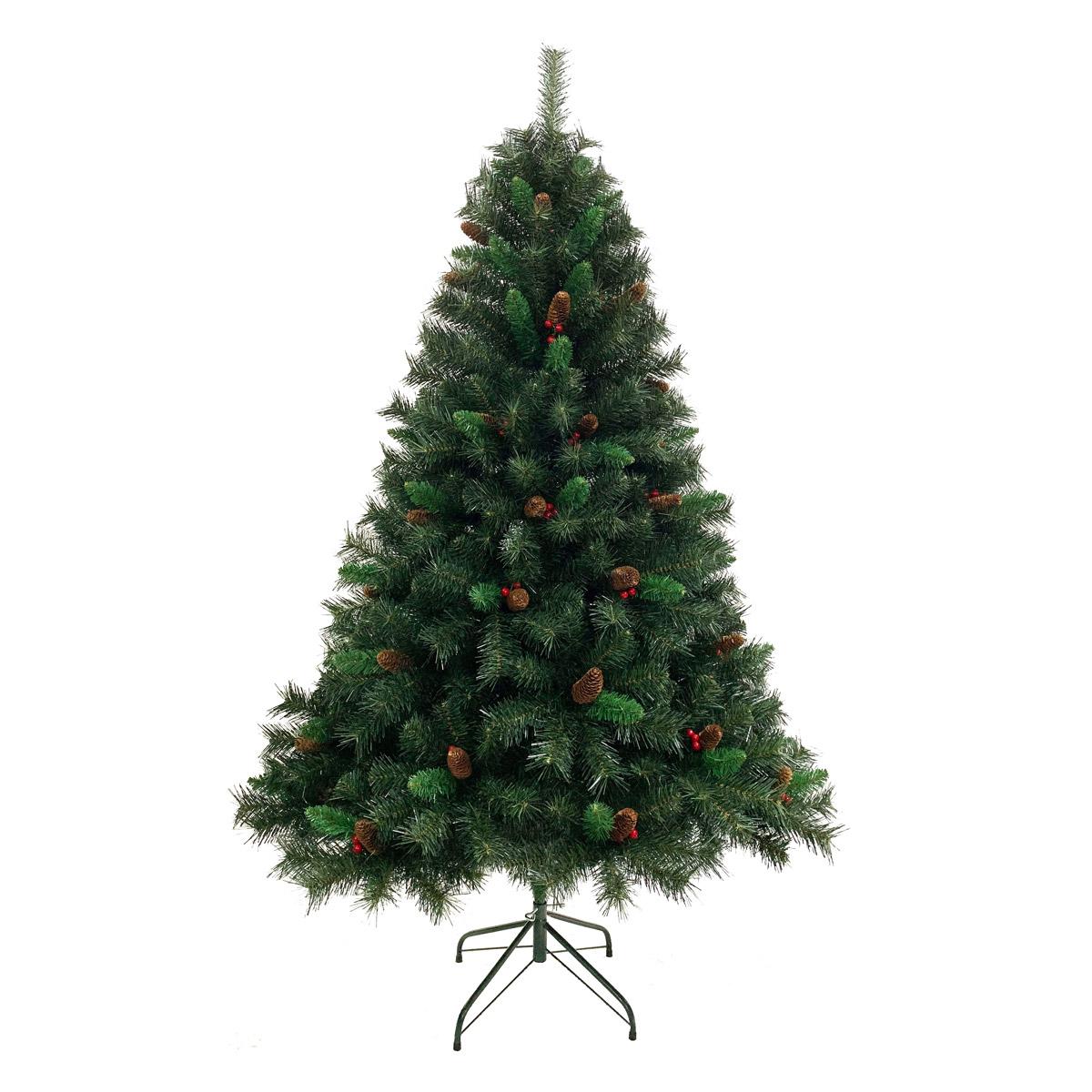 92025 SVITA Weihnachtsbaum künstlich mit Tannenzapfen und roten Beeren 180 cm