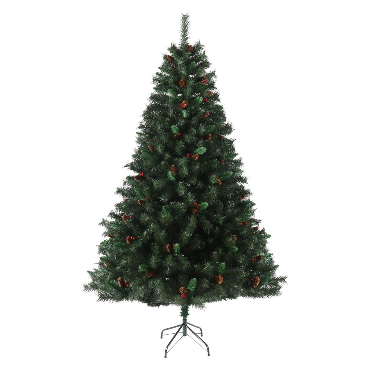 92026 SVITA Weihnachtsbaum künstlich mit Tannenzapfen und roten Beeren 210 cm